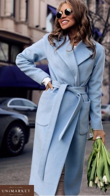 купить голубое кашемировое пальто