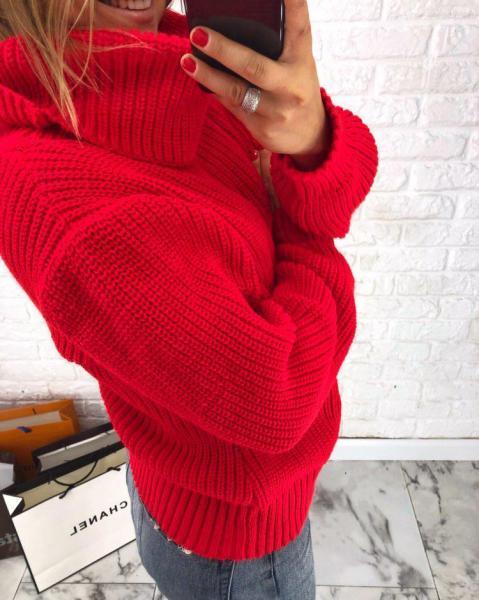 Заказать женский свитер оверсайз красный дешево