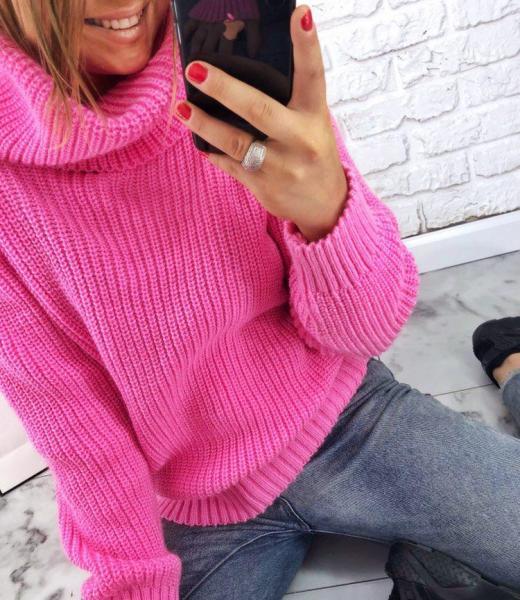 Купить розовый свитер Oversize для девушки на подарок