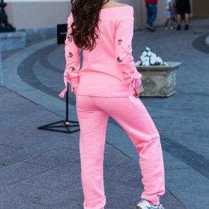 купить вязаный розовый костюм с открытыми плечами для женщин