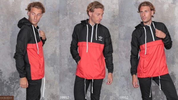 купить мужской анорак-куртку adidas / адидас красную в Украине