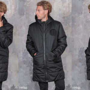 купить мужское черное пальто на меху