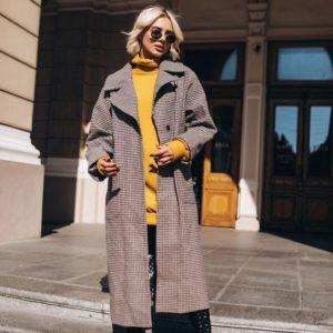 купить серое женское шерстяное пальто от производителя Украина