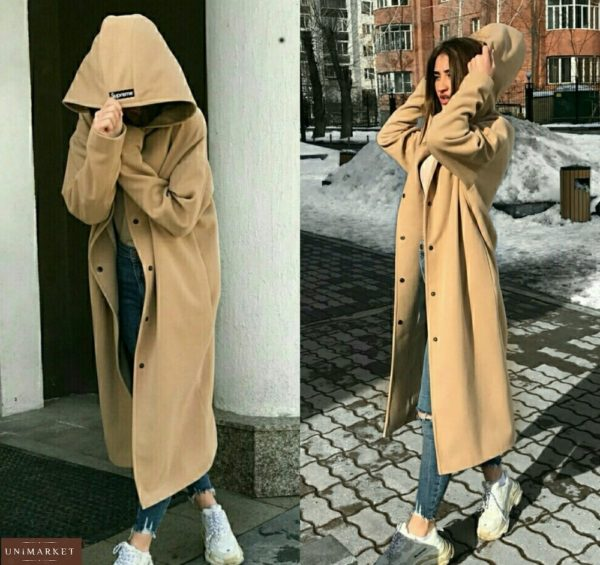 купить бежевое женское пальто кардиган оверсайз оптом от производителя
