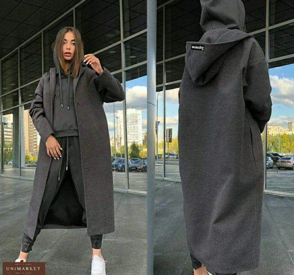 Заказать женское Кашемировое пальто-кардиган длинное темное серое