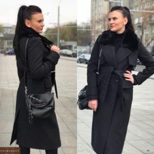 Купить женское зимнее кашемировое пальто черного цвета оптом