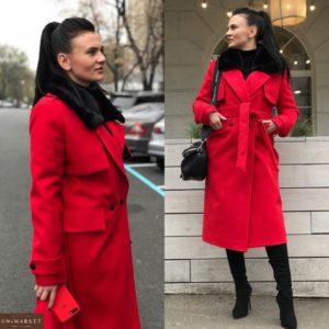 Красное зимнее кашемировое пальто для женщин дешево в Украине