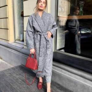 купить женское шерстяное серое пальто