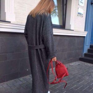 купить женское шерстяное темно серое пальто