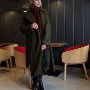 зеленое кашемировое зимнее пальто купить украина