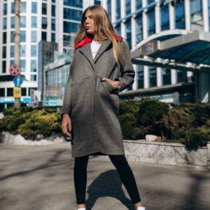 заказать серое женское кашемировое пальто в Украине