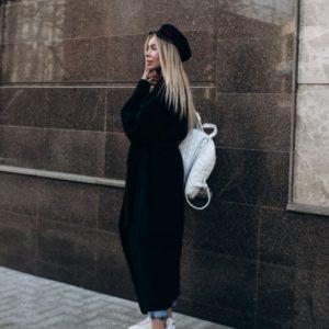 купить Женское шерстяное пальто с поясом