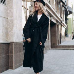 заказать черное шерстяное пальто украина