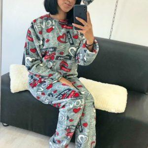 Заказать женскую пижаму стриженая махра с принтом оптом