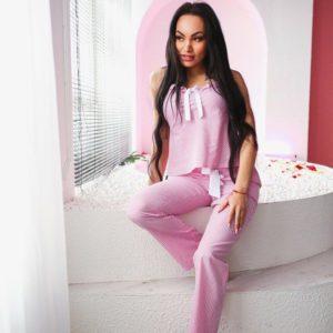 Розовая женская пижама костюм 100% хлопок цена в розницу