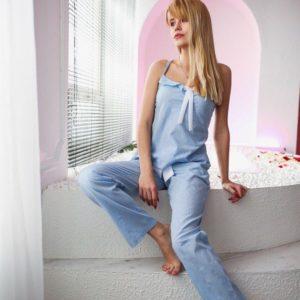 Заказать голубую женскую пижаму 100% хлопок оптом