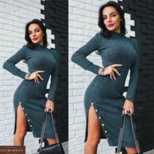купить графитовое длинное платье с разрезом до бедра