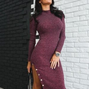 купить бордовое платье с разрезом спереди
