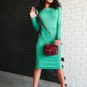 заказать зеленое платье из ткани джерси