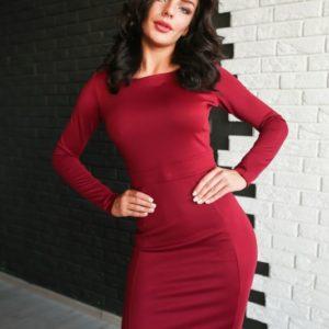 купить женское бордовое платье из трикотажа джерси