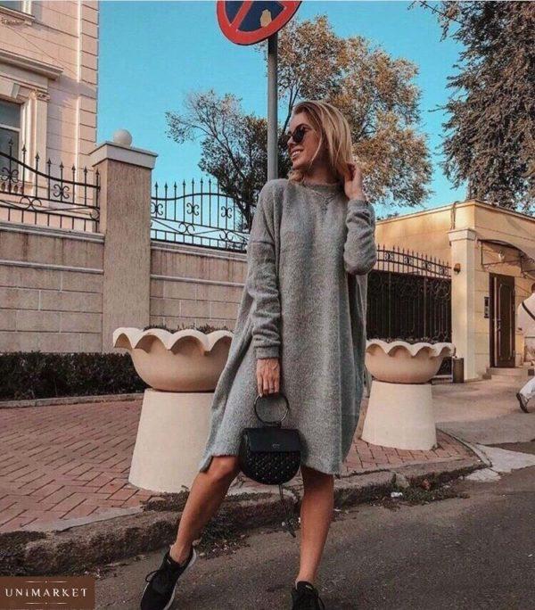 купить женское серое повседневное платье в Киеве по низкой цене