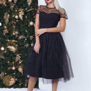 Заказать черное фатиновое платье на новый год по низкой цене