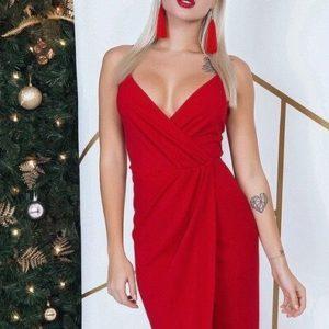 купить красное вечернее платье на бретельках для женщин оптом
