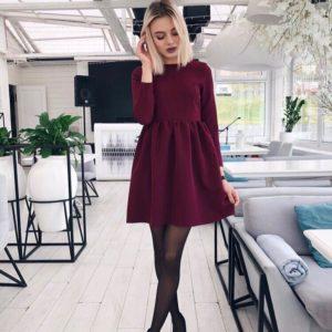заказать бордовое женское платье с пышной юбкой оптом