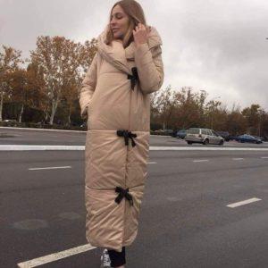 замовити бежевий жіночий пуховик кокон оптом в Україні