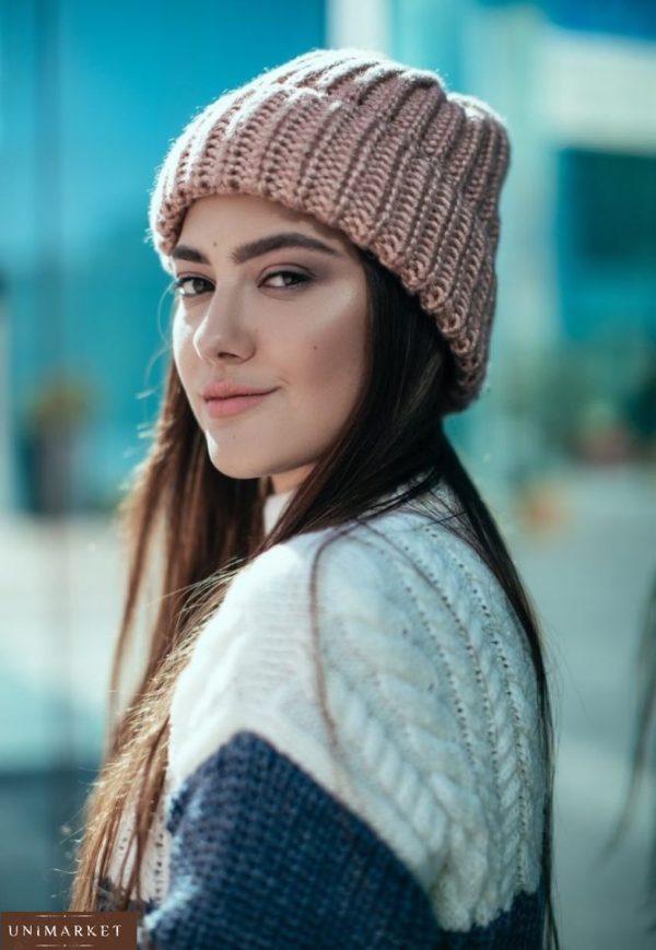 заказать женскую розовую шапку крупной вязки