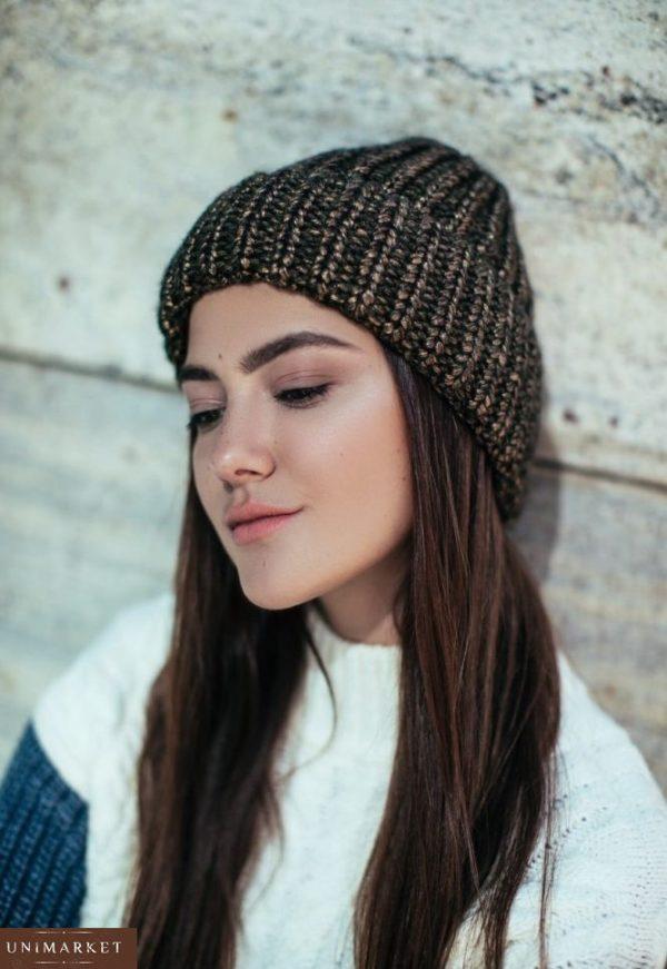 купить коричневую вязаную шапку