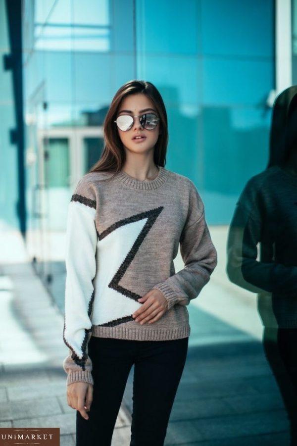 купить женский бежевый свитер со звездой