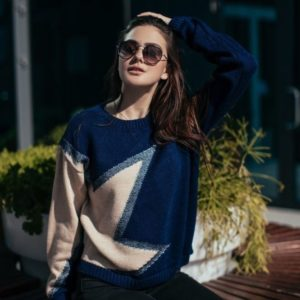 купить женский синий свитер со звездой