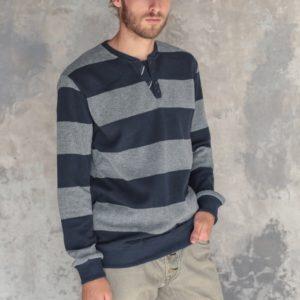 купить мужской котоновый свитер синий с серым в Украине