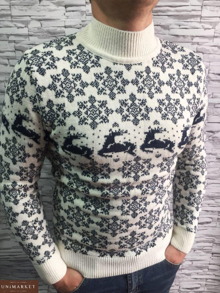 10d0c72e0e35b Мужской Шерстяной свитер с оленями воротник-стойка купить в онлайн ...