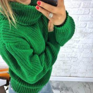 теплый женский Свитер oversize зеленый цена в Украине