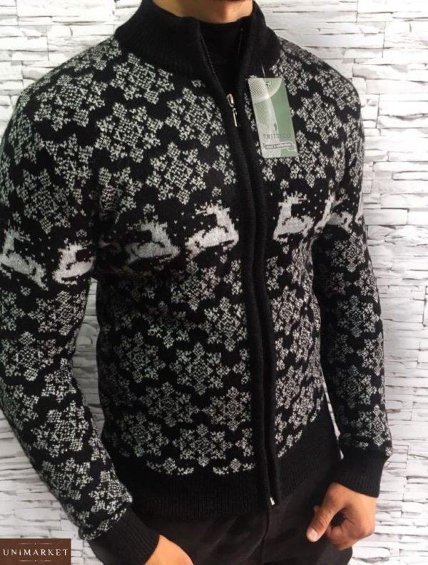 мужской свитер с оленями черный цена в Киеве