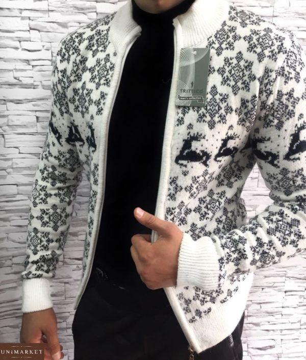 купить белый мужской свитер с оленями на змейке в Украине