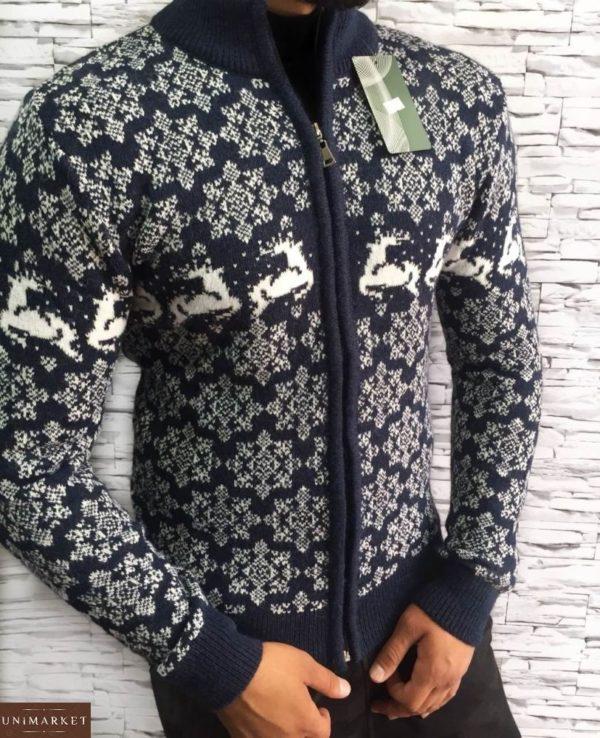 Купить свитер с оленями на змейке для мужчин темно синего цвета