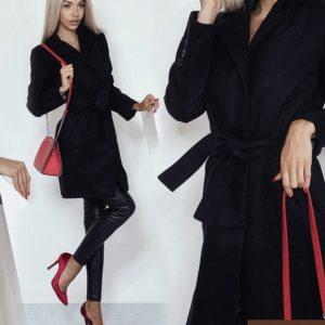 купить черное пальто на подкладке в Киеве