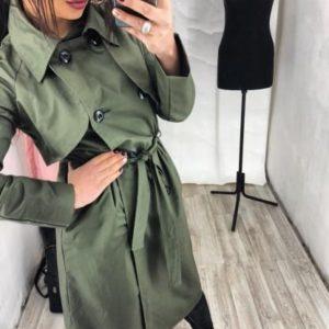 заказать зеленый тренч женский по низкой цене