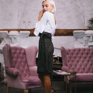 купить черную юбку замш на дайвинг дешево