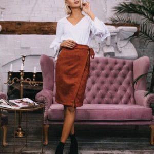 заказать замшевую юбку цвета терракот оптом в Украине