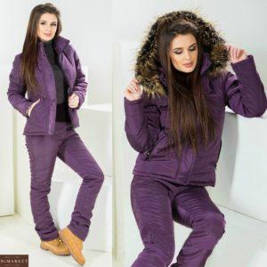 Заказать лыжный костюм баклажанного цвета для женщин с искусственным мехом