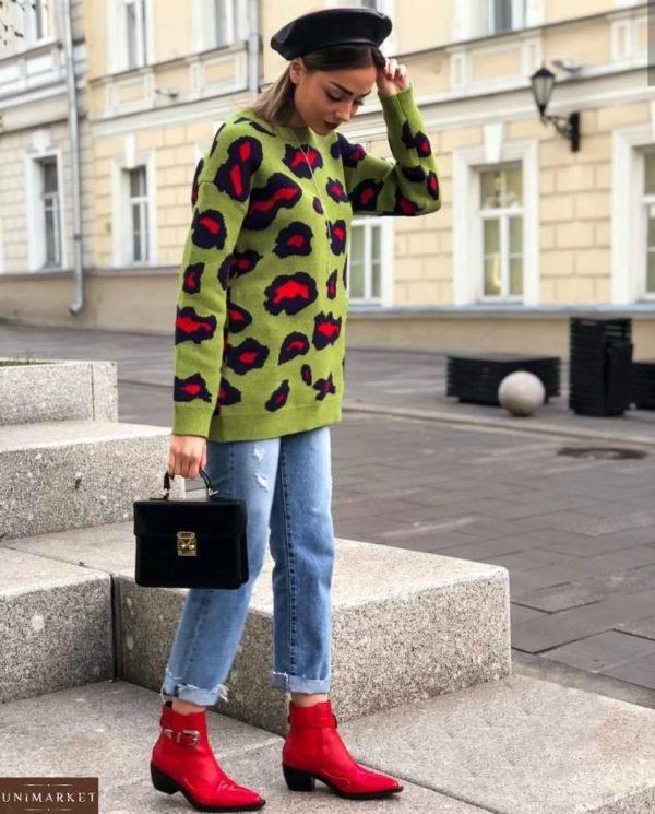 Заказать женский свитер туника зелёного цвета по выгодной цене