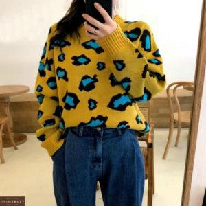 Купить женский свитер туника желтого цвета со скидкой