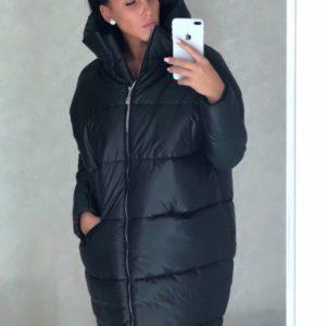 Чёрная женская зимняя куртка с капюшоном - заказать в интернет-магазине