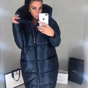 Темно-синяя женская зимняя куртка с капюшоном - купить со скидкой!