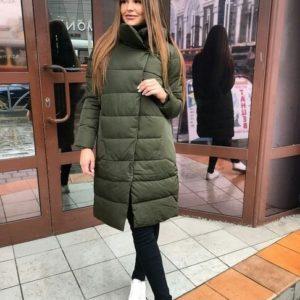 Заказать в интернет-магазине: зеленая женская зимняя куртка на синтепоне