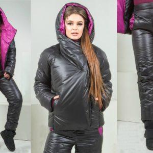 Купить женский лыжный костюм на синтепоне чёрного цвета